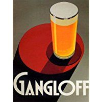 GANGLOFF BEER BIG GLASS LIGHT ALE LARGER PILSEN VINTAGE POSTER REPRO