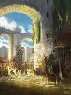 Image result for isometric medieval town market art