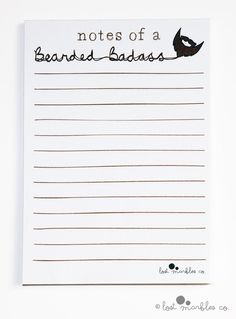 Notepad Beard Notepad Funny Pad by Lost Marbles Co Stocking Fillers, Stocking Stuffers, Gifts For Husband, Boyfriend Gifts, Birthday Cards, How To Draw Hands, Stationery, Notebook, Notes