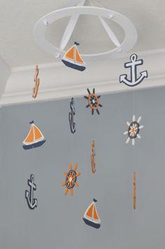 Nautical Baby Mobile -Sailboat Anchor Wheel Lighthouse - Navy White Orange