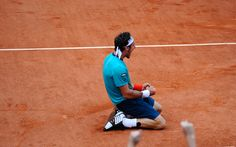 02 Jun - Monaco v Raonic - Brought to his knees  Juan Monaco celebrates his third-round victory over Milos Raonic. © FFT