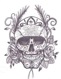 sugar skull tattoo | ... desenhos de caveira » sugar-skull-dia-de-los-muertos-tattoo-smaple