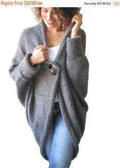 WINTER SALE 20% Plus Size Over Size Dark Gray Wool by afra on Etsy