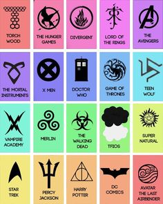 harry potter doctor who lord of the rings supernatural The Hunger Games x men game of thrones percy jackson The Avengers Merlin avatar the last airbender star trek the walking dead the mortal instruments Teen Wolf tfios dc comics vampire academy divergent The Advengers, Fandom Symbols, Divergent Symbols, Divergent Quotes, Film Manga, Tribute Von Panem, Die Rächer, The Mortal Instruments, Avatar The Last Airbender