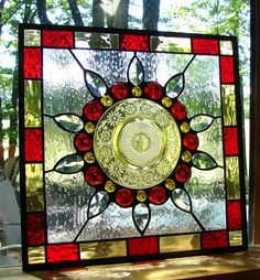 Daisy Flower stained glass plate panel by BarbarasStainedGlass