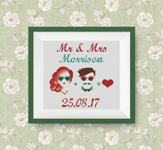 BUY 2, GET 1 FREE! Mr & Mrs hipster cross stitch pattern, Just married cross stitch pattern, Modern cross stitch, Instant Download, #P252 by NataliNeedlework on Etsy