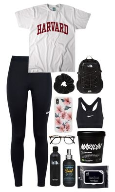 A fashion look from January 2018 featuring white cotton tops, NIKE and the north face rucksack. Browse and shop related looks. Cute Outfits With Leggings, Cute Lazy Outfits, Teenage Girl Outfits, Cute Outfits For School, Teen Fashion Outfits, Look Fashion, Outfits For Teens, Cool Outfits, Sporty Summer Outfits