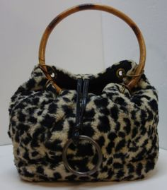 Animal Print Purse by ROGER VAN S with Bamboo by Vintageables