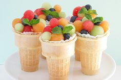 Fruit Salad Cone Cups make an impressive fruit recipe for any party   Bakers Royale