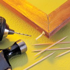 Woodworking Techniques tiny toothpick dowels - Check out 53 of the most clever gluing tips and tricks from editors and readers of Family Handyman. You'll definitely want to keep these in mind during your next woodworking projects! Learn Woodworking, Woodworking Techniques, Popular Woodworking, Woodworking Furniture, Woodworking Crafts, Woodworking Plans, Woodworking Magazine, Woodworking Jigsaw, Woodworking Patterns