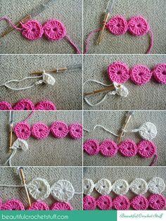 Crochet Skirt BeautifulCrochetStuff: Crochet Circles - Free join-as-you-go pattern plus diagram. Crochet Circle Pattern, Crochet Circles, Crochet Motifs, Crochet Borders, Crochet Flower Patterns, Crochet Diagram, Crochet Flowers, Knitting Patterns, Sewing Patterns