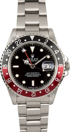 "Manufacturer: Rolex   Model Name/Number: GMT-Master II 16710   Serial/Year: S 1993-1995   Grade: (What's This?) II   Gender: Men's   Features: Automatic 3185 movement w/ date, scratch resistant sapphire crystal, bi-directional rotating bezel   Case: Stainless steel with red and black ""Coke"" insert (40mm)   Dial: Black w/ luminous markers, red GMT hand    Bracelet: Stainless steel Oyster w/ Fliplock clasp   Box & Papers: Original Rolex box and Bob's Certificate of Authenticity"