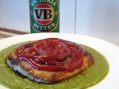 Pie Floater ??? by NicnBill, via Flickr - Jillian .... YES - a pie floater. Meat pie in mushy green pea soup with tomato sauce (ketchup) on top! South Australian food van, late night delight! HA!