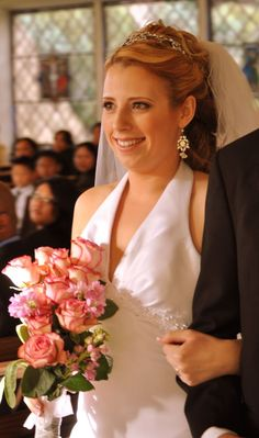 Real Bride Melissa wearing the lady catherine earrings & hayworth bandeau!