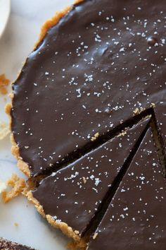 A sweet and salty Salted Chocolate Tart with a Sea Salt Kettle Chip crust