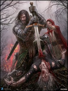 Vlad Marica - Concept art. Hank, Regular version. Hank slaying the witch and saving his daughter. Yes, his daughter is the Little Red Riding Hood.