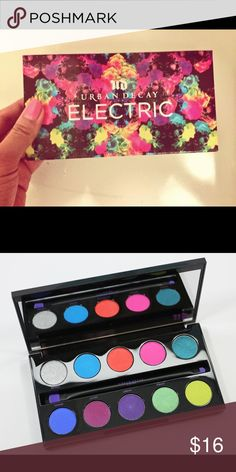 Urban Decay Electric Palette Bright & very pigmented eyeshadow palette from Urban Decay. Can create great spring/summer looks or just when you want some additional pop of color in your makeup. Practically brand new & comes with brush. Some colors have been lightly swatched but have been sanitized. Urban Decay Makeup Eyeshadow