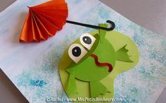 bricolage grenouille et parapluie découpage collage