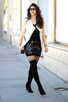 Sequins on Rodeo Drive // Laura Lily wearing Stuart Weitzman Highstreet over the knee boots