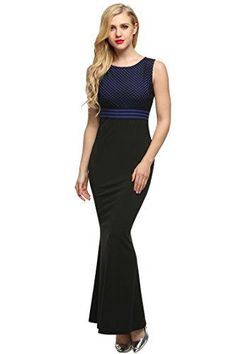 Angvns Womens Long Sleeve Lace Slimming Tube Evening Cocktail Maxi Dress with Belt Xl Dark Blue *** For more information, visit image link.