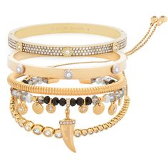 Henri Bendel The Fashionista Stack (€105) ❤ liked on Polyvore featuring jewelry, bracelets, gold, hinged cuff bracelet, henri bendel jewelry, bangle charm bracelet, bangle bracelet and henri bendel