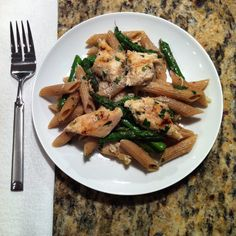 Writing this recipe right now! Whole Wheat Penne Pasta w/ Lemon, Grilled Chicken and Asparagus.