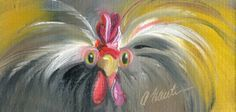 """Forward Thinking"" Chicken painting oil, by Amy Hautman"