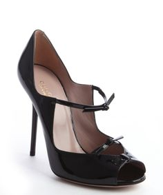 Gucci black leather knot strap peep toe pumps   BLUEFLY