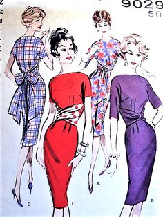 1950s SEDUCTIVE Sash Wrap n Tie Slim Dress Pattern Quick n Easy BUTTERICK 9029 Day or Evening Dress 4 Versions Bust 36 Vintage Sewing Pattern UNCUT