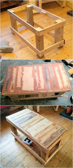 Pallets are able to serve you by every thing that you can design with them as this pallet coffee table idea is common because it is really easy to design. The pallet wood coffee table idea in the design idea is something classical and more adoptable. Diy Pallet Furniture, Diy Pallet Projects, Pallet Ideas, Wood Projects, Woodworking Projects, Wood Ideas, Rustic Furniture, Pallet Diy Decor, Furniture Design