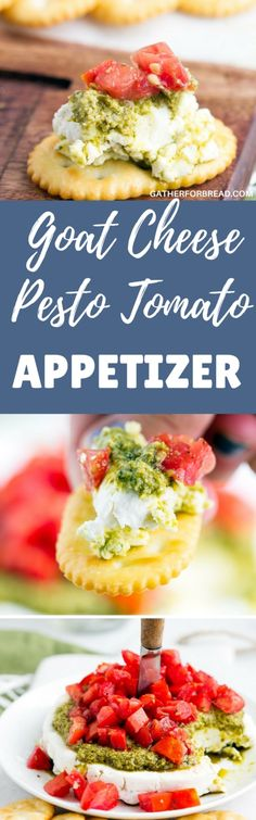 Goat Cheese Pesto Tomato Appetizer - Layers of creamy goat cheese, basil pesto and topped with herb tomatoes. 10 minute layered starter, perfect for parties!