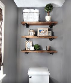 Fourth, Wooden shelves for small bathroom decorations. 1 of 10 most popular ideas to decorate a narrow space bathroom.