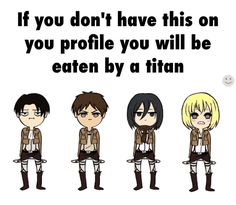 You will be eaten by a Titan if this is not on your profile