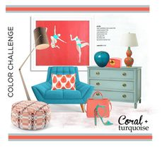 """""""Colour challenge..Turquoise & Coral"""" by gloriettequartet ❤ liked on Polyvore featuring interior, interiors, interior design, home, home decor, interior decorating, Thrive, JR by John Robshaw, Bungalow 5 and Emissary"""