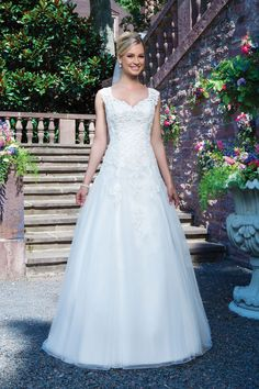 Sincerity Bridal - Style 3863: Lace and Tulle A-Line Gown with V-Neck