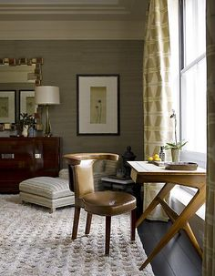 Interior Designer Portfolio by Steven Gambrel – Dering Hall – Home Office Wallpaper Small Space Living, Small Spaces, Living Spaces, Work Spaces, Living Rooms, Home Office, Office Nook, Desk Office, Small Office