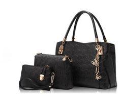 Luxusný dámsky set - kabelka, etuja a peňaženka v čiernej farbe