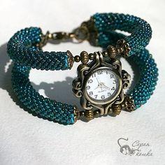 """Купить Часы """"Время цвета морской волны"""" - кварцевые часы, жгут из бисера, жесткий браслет"""