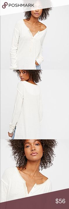 Lounging Around Tee✨ Perfect for lounge or leisure, this comfortable cotton long sleeve features a relaxed henley design with subtle crochet trims.  • Side vents  *55% Linen *45% Cotton *Machine Wash Cold.   Size Xs generous fit so cute on. Worn one time. Just like new I'm 5'3 fits on me just like model Color Ivory* Free People Tops Tees - Long Sleeve