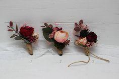 Burgundy blush pink boutonnieres Wedding accessories Men's boutonniere Groom Groomsmen buttonhole Wedding flowers  Fall wedding by ByKochetova on Etsy https://www.etsy.com/listing/555870258/burgundy-blush-pink-boutonnieres-wedding