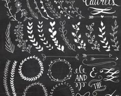 Chalkboard Laurels & Wreaths Clip Art // Clipart Photoshop Brushes // Hand Drawn // Ribbon Foliage Leaves // Vector Files // Commercial Use Chalkboard Designs, Chalkboard Clipart, Chalkboard Doodles, Chalkboard Decor, Chalkboard Paper, Chalkboard Writing, Chalkboard Border, Christmas Chalkboard Art, Art Floral