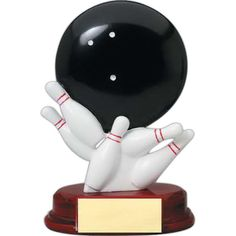 "6"" bowling ball and pins award. Decorating is included. Awards let the…"