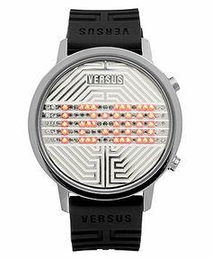 Versus by Versace Watch, Unisex Digital Hollywood Black Rubber Strap 41mm 3C7110 0000