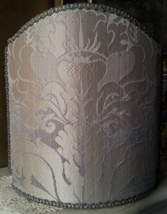 This pretty lampshade is handmade using Rubelli pure silk crinkled damask fabric - San Marco pattern - in pearl grey/silver color, finished with