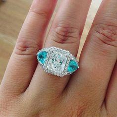 Feeling the baby blue hues  @ericacourtneyjewels diamond and Paraiba Tourmaline…