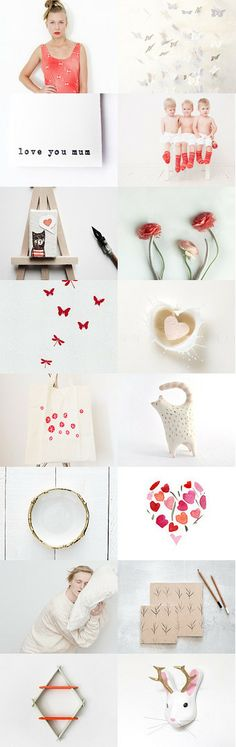 love you mum :: treasury by Barbara on #Etsy #red #white #love #gifts #mothersday #minimalist