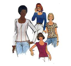 70s Sewing Pattern Women's Fitted Blouse Scoop by HoneymoonBus, $8.99