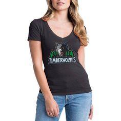 NBA Minnesota Timberwolves Women's Short Sleeve V Neck Graphic Tee, Size: Small, Black