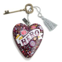 MY HERO Art Heart Sculpture Ornament Key to My Heart New in Gift Box