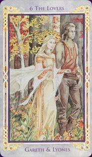 Legend: Arthurian Tarot version of The Lovers. Wish more modern decks would use watercolour and paint not just photoshop!